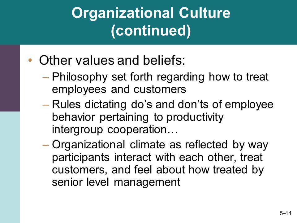 Organizational Culture (continued)