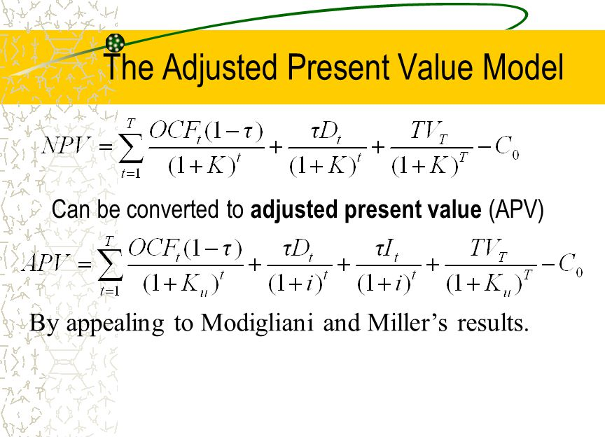 adjusted present valu Solution data and questions introduction ebit i l ra rd re tc adjusted present value - adjusted cost of capital investment ebit (perpetuity) apv d/e cash flow to equity.