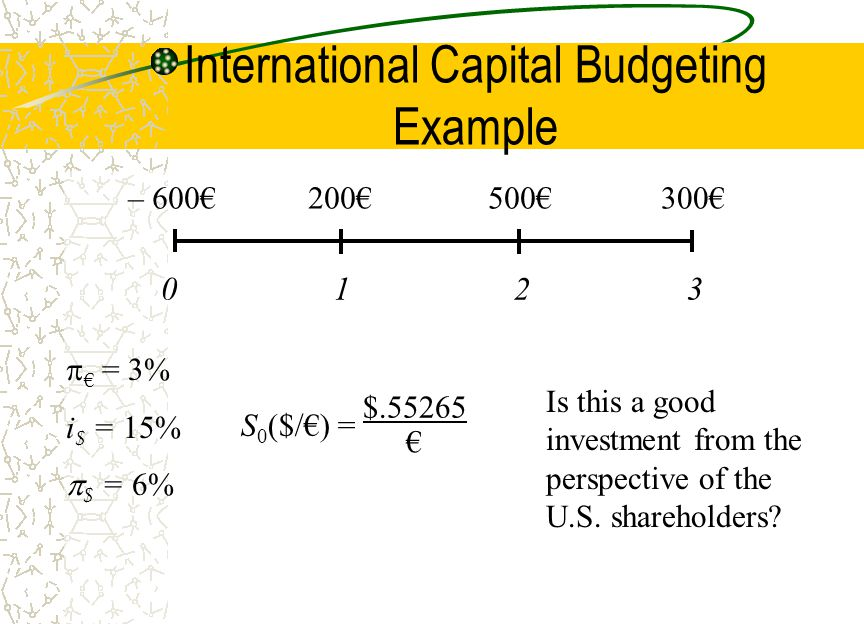 international capital budgeting Capital budgeting is the process in which a business determines and evaluates potential large expenses or investments these expenditures and investments include projects such as building a new.