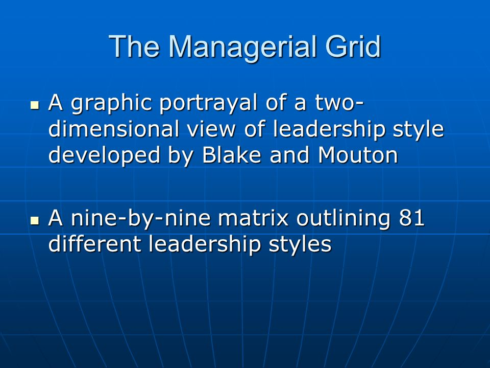 The Managerial Grid A graphic portrayal of a two-dimensional view of leadership style developed by Blake and Mouton.
