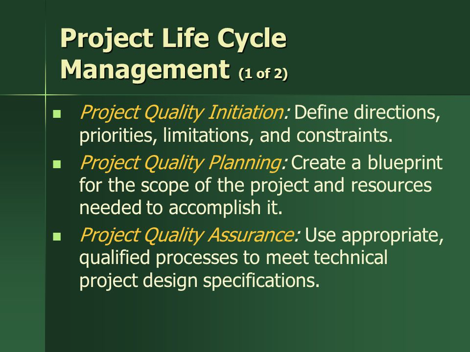 Project Life Cycle Management (1 of 2)