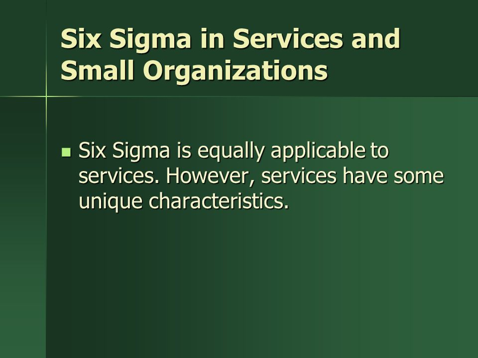 Six Sigma in Services and Small Organizations