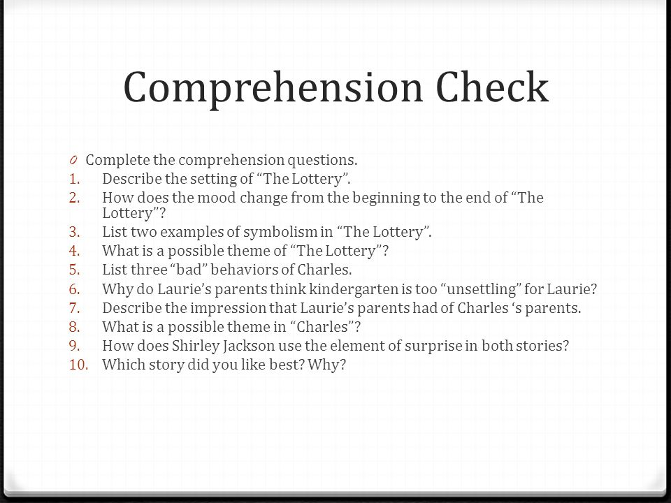 essay questions charles shirley jackson I'm in junior high, and i had to read this short story and answer ten essay questions depending on how well we do will determine whether i can get into.