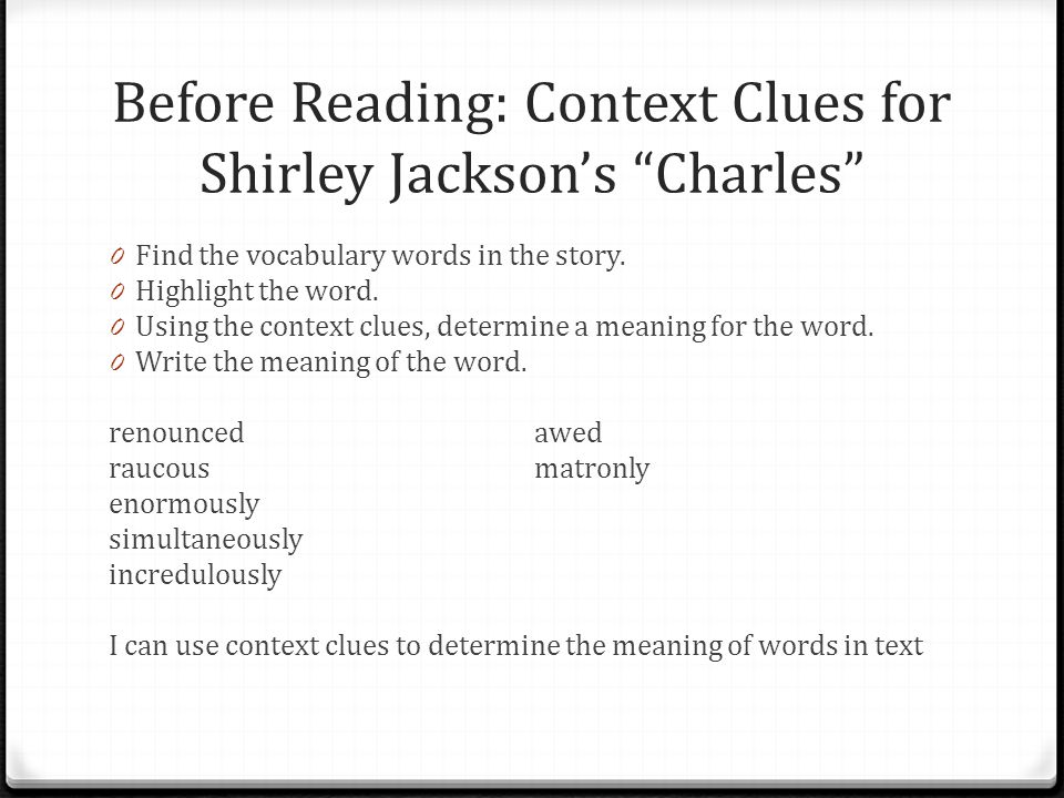 essay questions charles shirley jackson A character analysis in the story charles english literature essay print reference this published: 23rd march, 2015 disclaimer: this essay has been submitted by a.