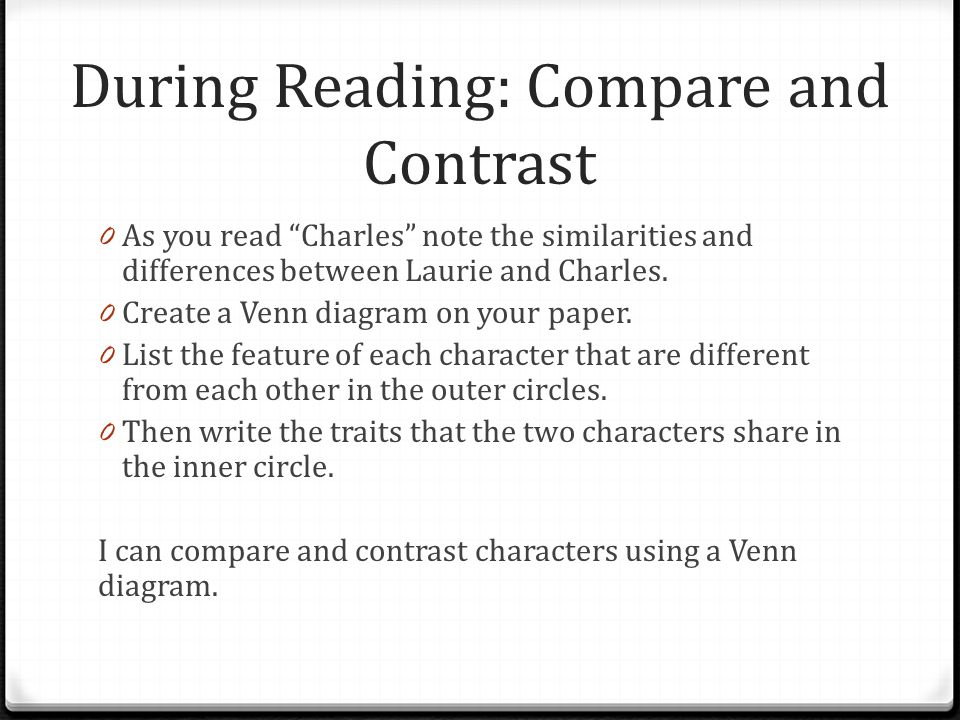 compare contrast charles by shirley jackson and Google shirley jackson compare/contrast as you read charles, note the similarities and differences between laurie and charles next.