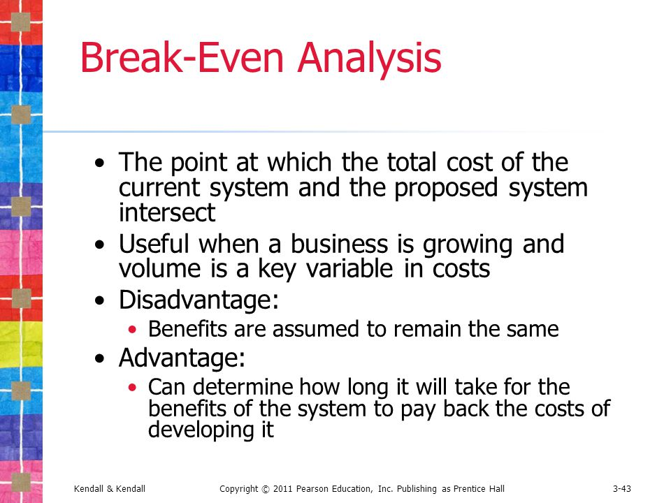 advantages and disadvantages of breakeven analysis Advantages and disadvantages of break-even analysis 1) it is simple to conduct and understand 2) it shows profit and loss at different levels of output.