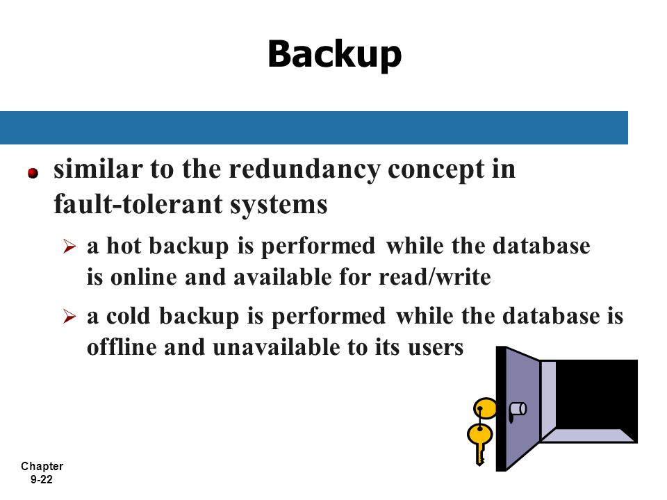 Backup similar to the redundancy concept in fault-tolerant systems