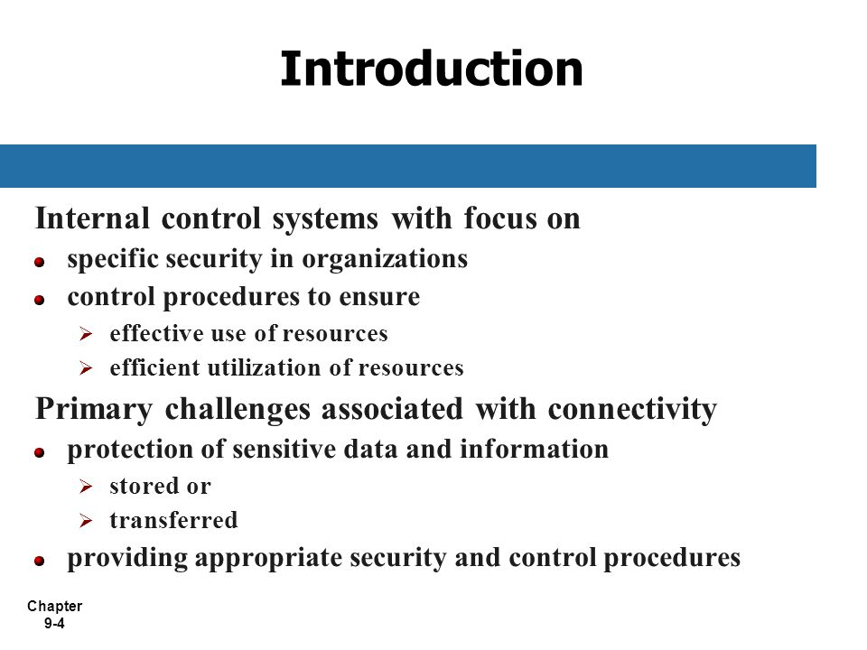 Introduction Internal control systems with focus on