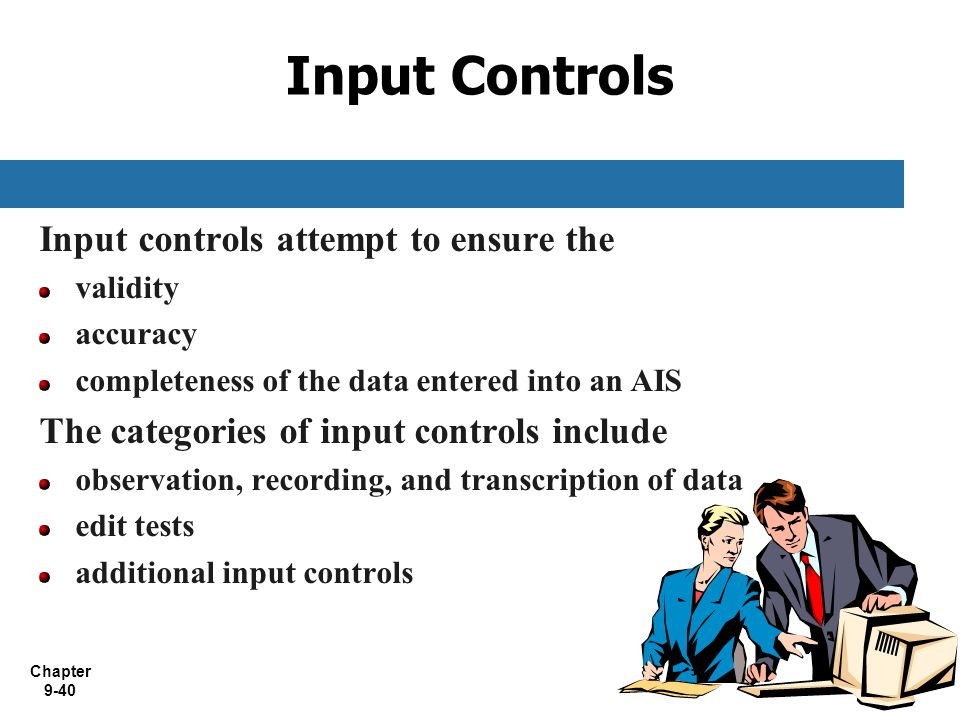 Input Controls Input controls attempt to ensure the