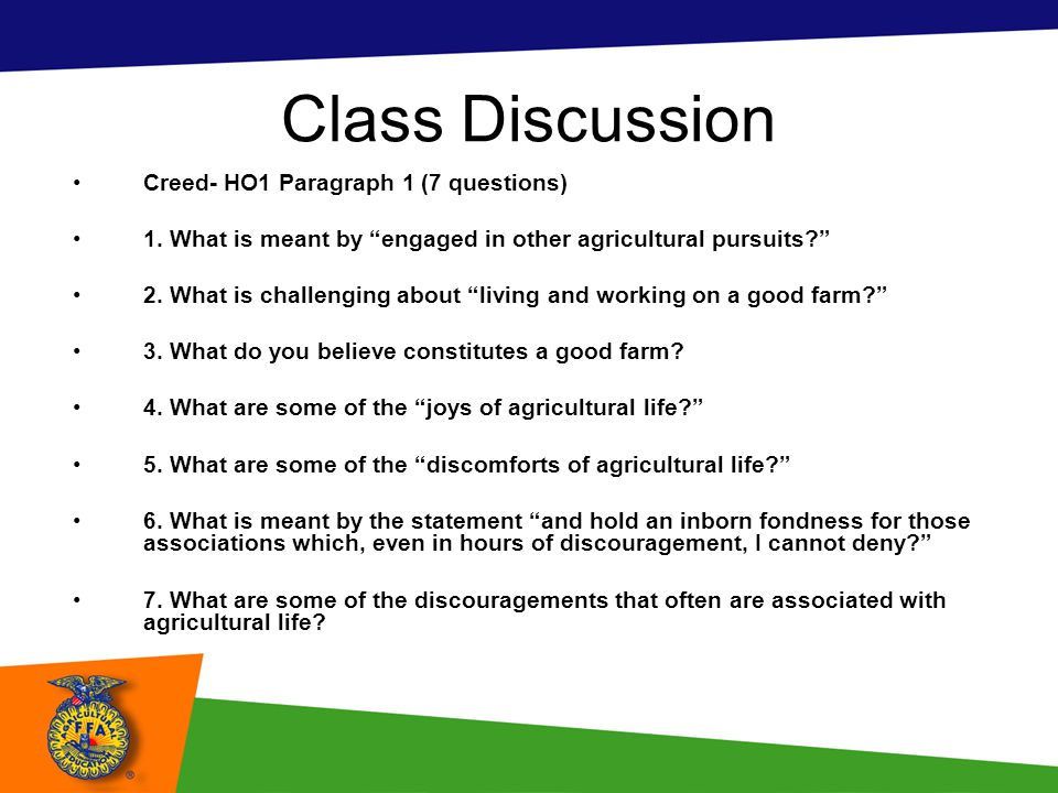 Class Discussion Creed- HO1 Paragraph 1 (7 questions)