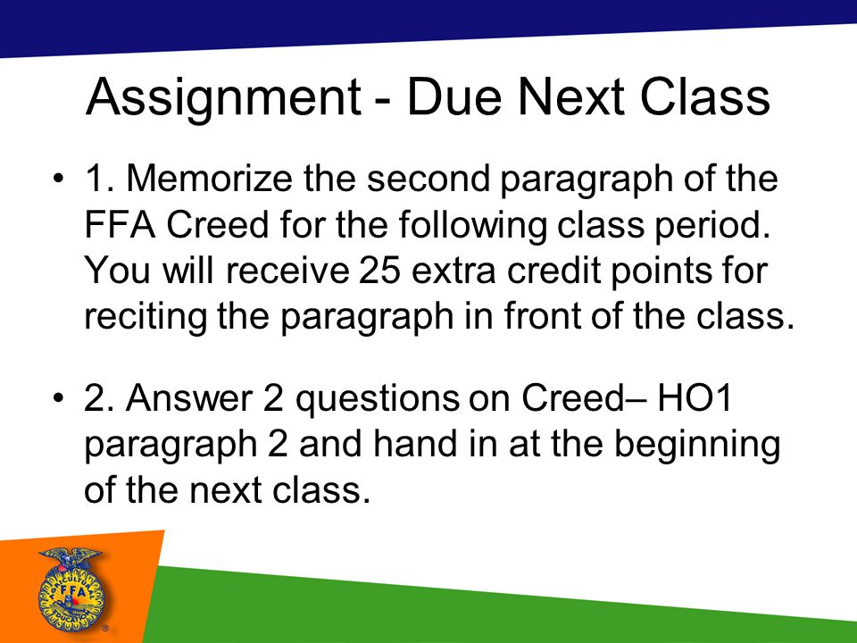 Assignment - Due Next Class