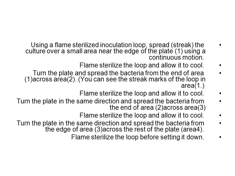 Using a flame sterilized inoculation loop, spread (streak) the culture over a small area near the edge of the plate (1) using a continuous motion.