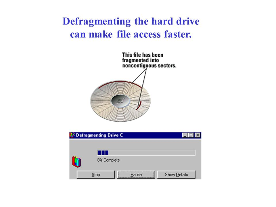 Defragmenting the hard drive can make file access faster.