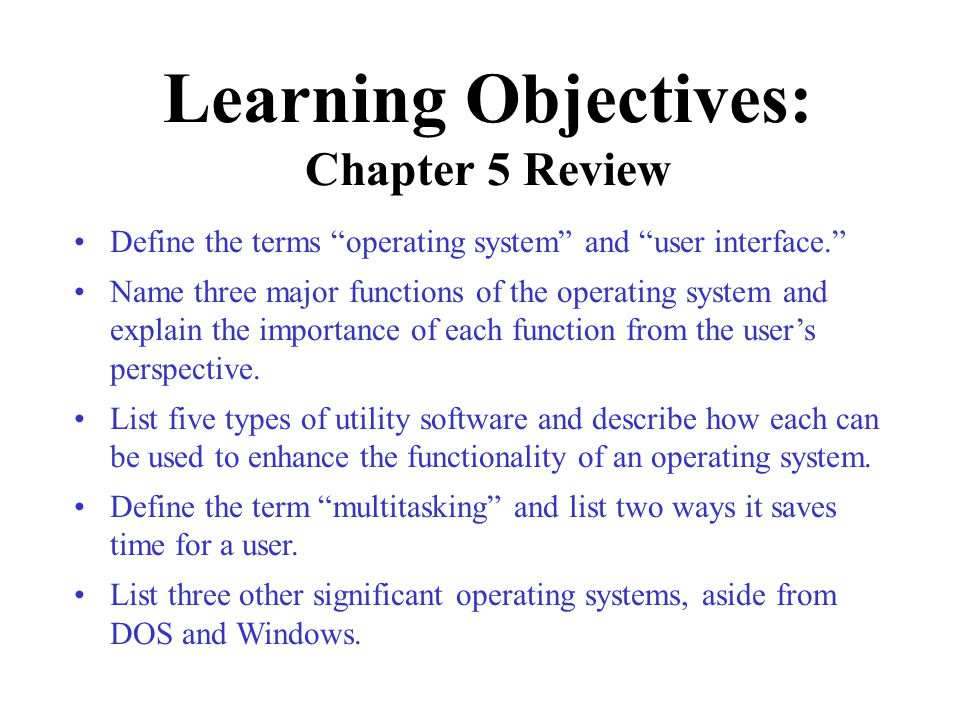 Learning Objectives: Chapter 5 Review