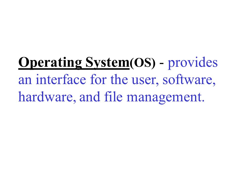 Operating System(OS) - provides an interface for the user, software, hardware, and file management.