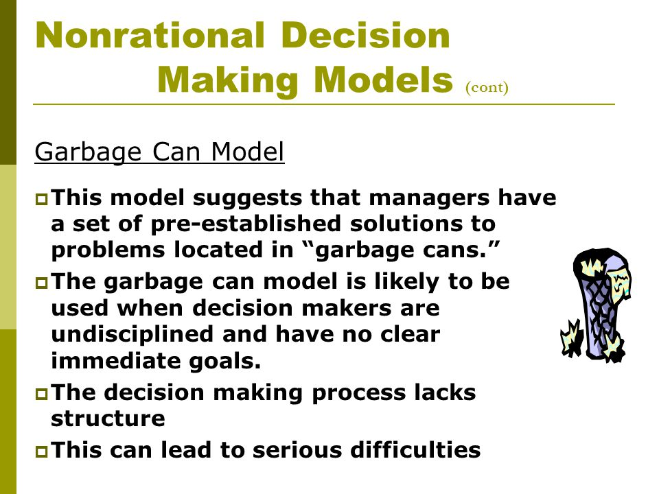 a model for decision making Decision-making, in organizations, is regarded as a rational process herbert a simon has given a model to describe the decision–making process the model comprises of three major phases, namely.