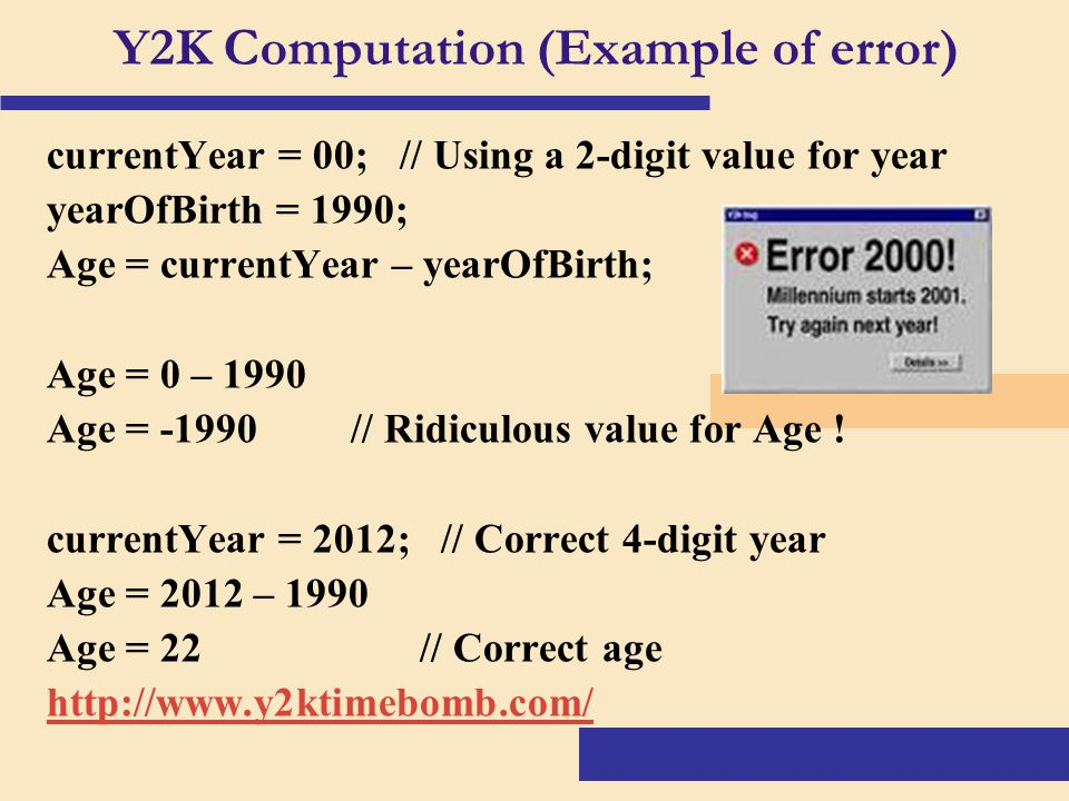 the causes and possible effects of the y2k millennium bug Although the technology-dependent world at large is no longer in millennium bug controlling the y2k bug hampshire and warwickshire as being a cause of.