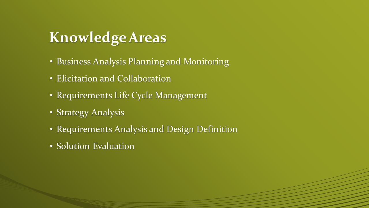 Knowledge Areas Business Analysis Planning and Monitoring