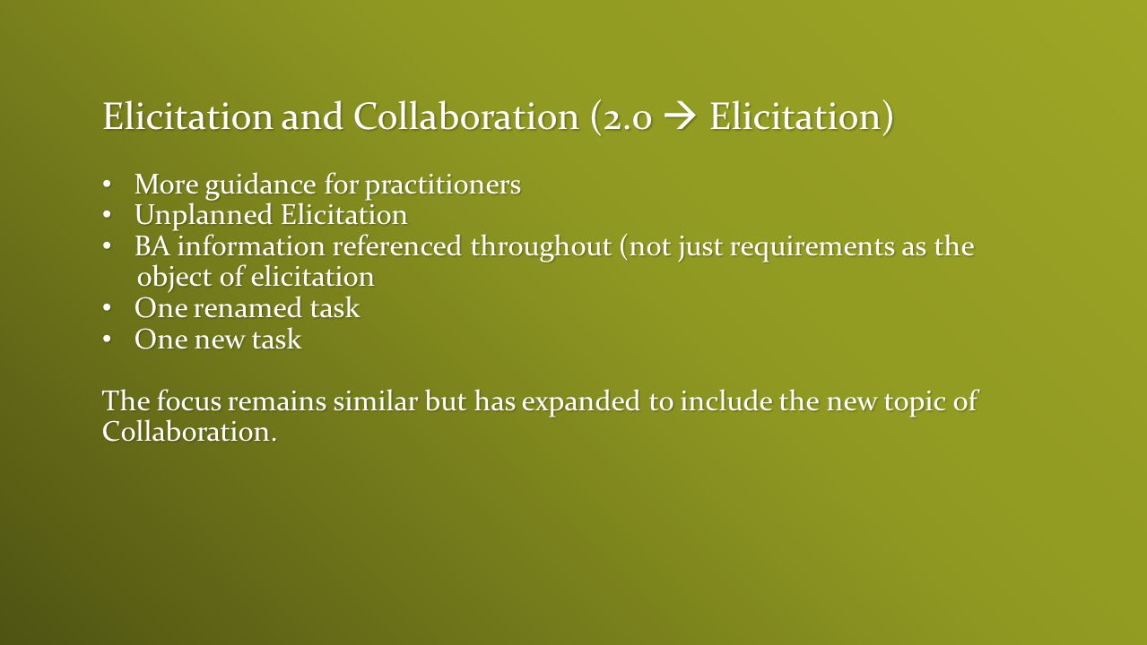 Elicitation and Collaboration (2.0  Elicitation)