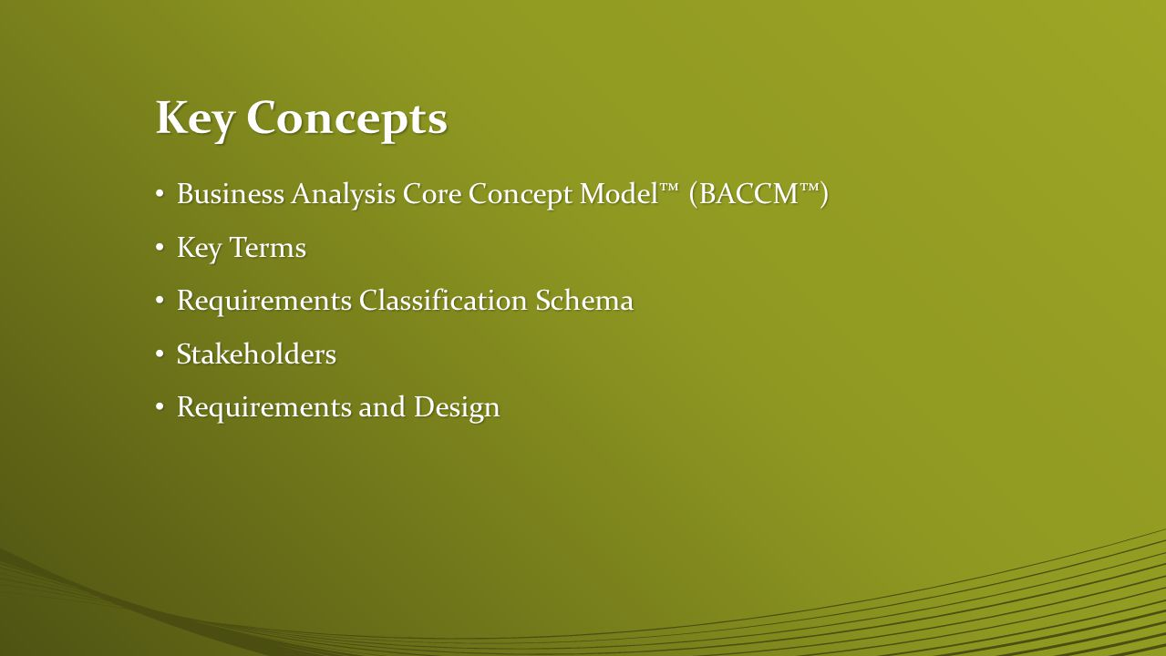 Key Concepts Business Analysis Core Concept Model™ (BACCM™) Key Terms