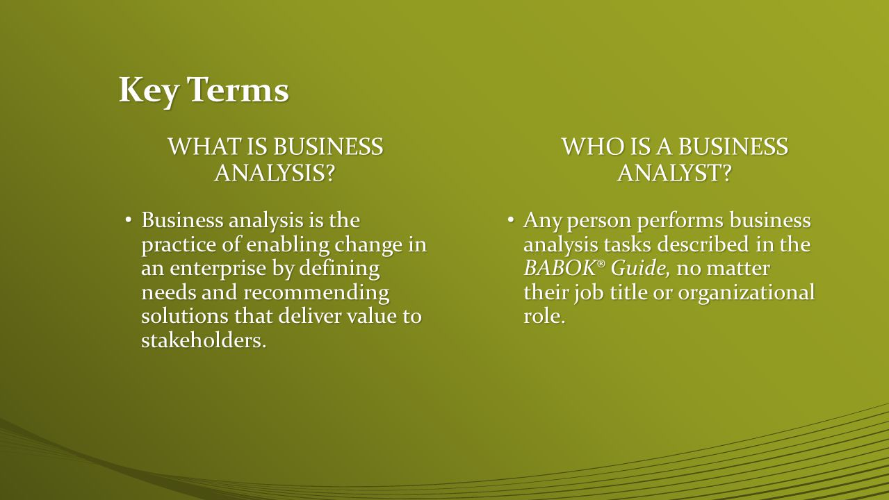 Key Terms What is business analysis Who is A BUSINESS ANALYST
