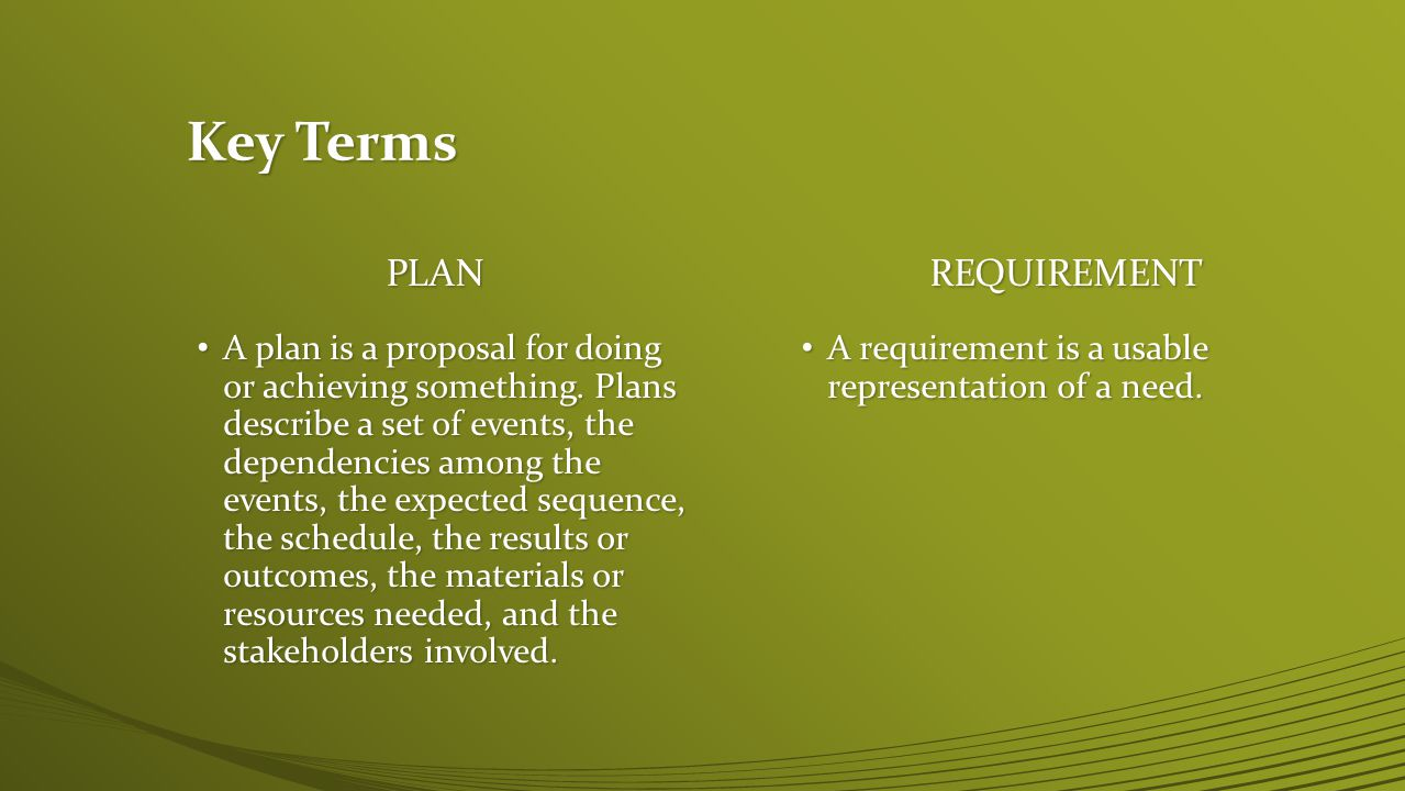 Key Terms PLAN REQUIREMENT
