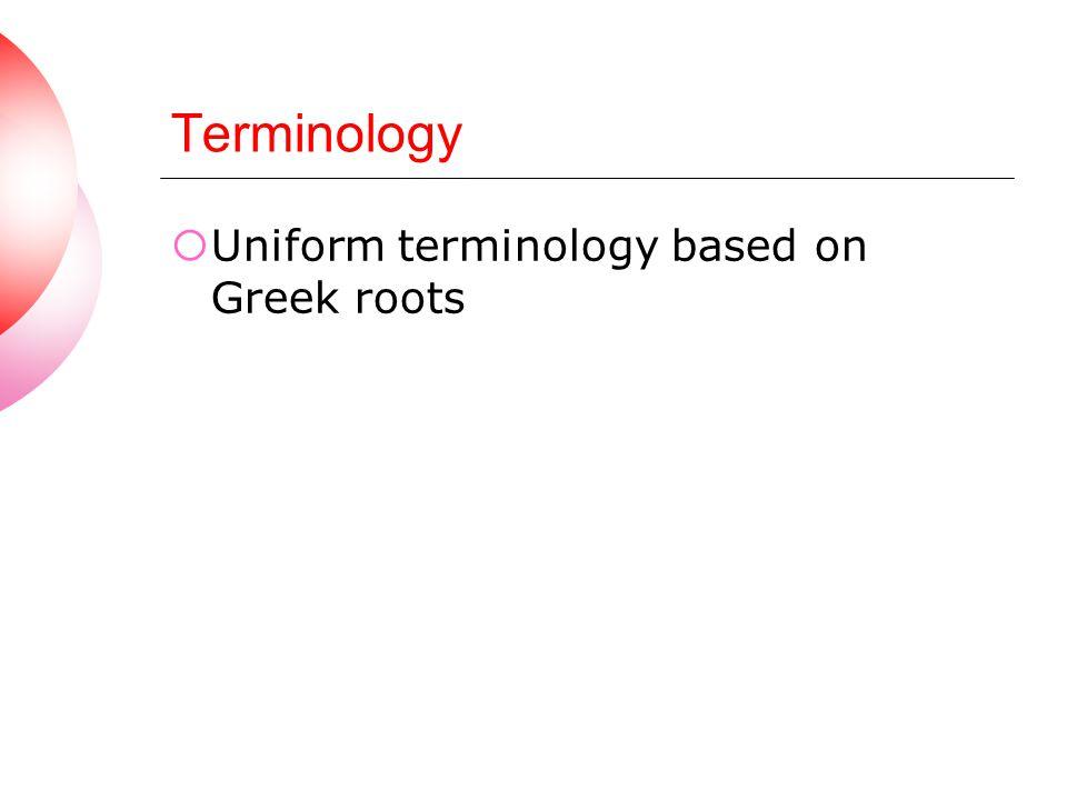 Terminology Uniform terminology based on Greek roots
