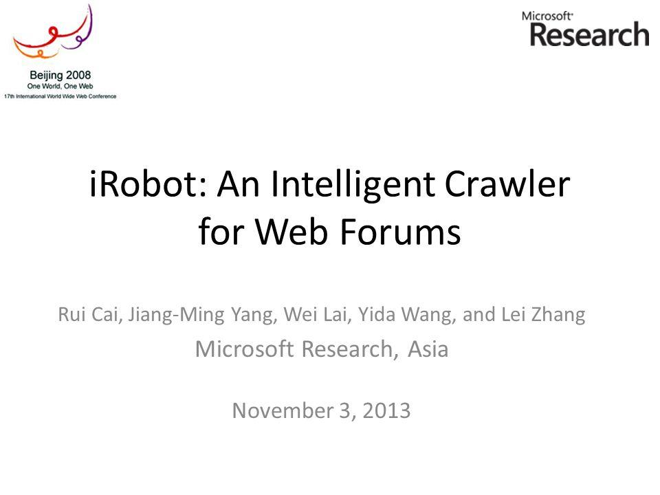 iRobot: An Intelligent Crawler for Web Forums