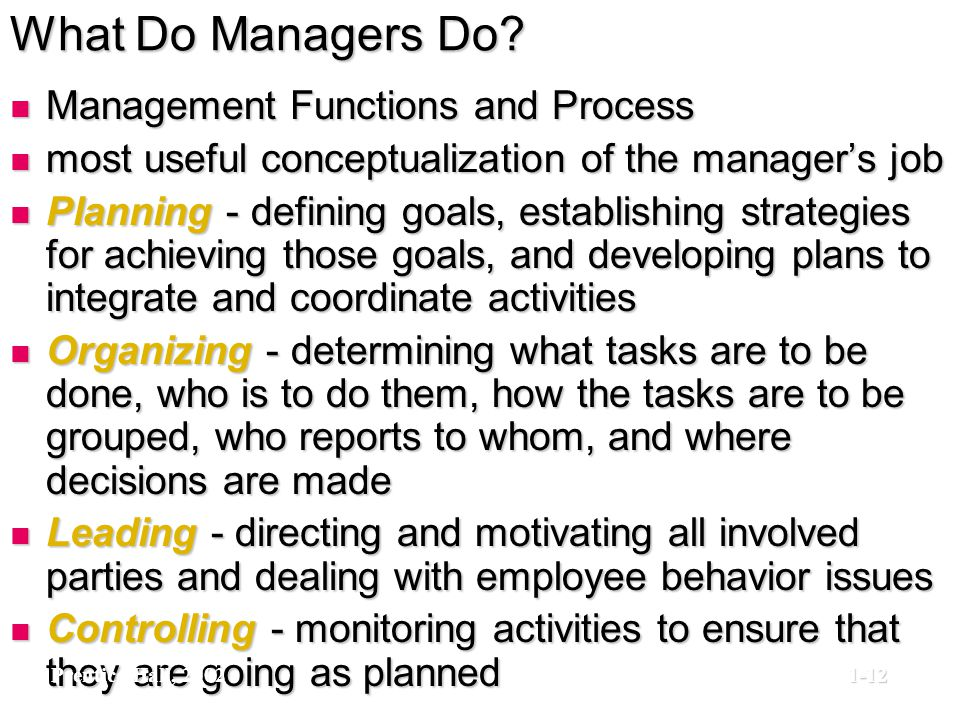 What Do Managers Do Management Functions and Process