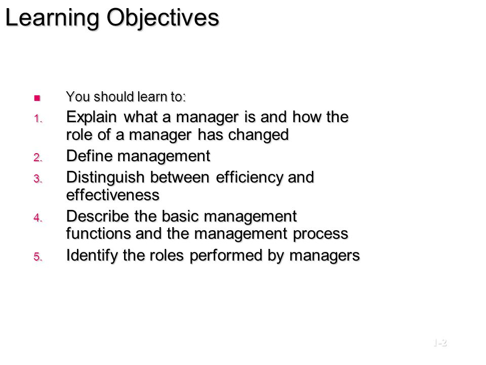Learning Objectives You should learn to: Explain what a manager is and how the role of a manager has changed.