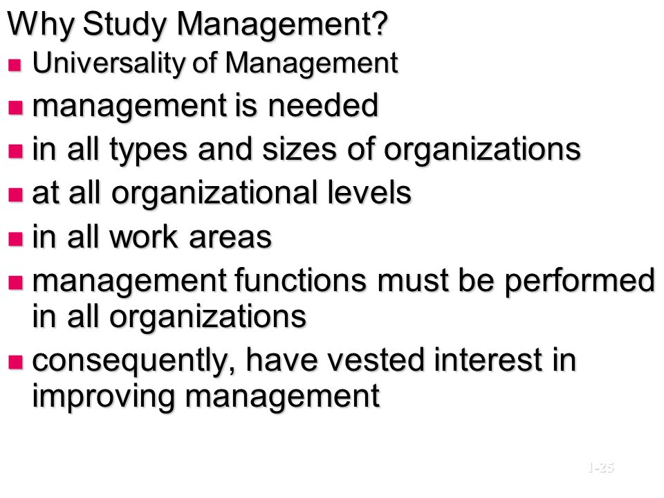 in all types and sizes of organizations at all organizational levels
