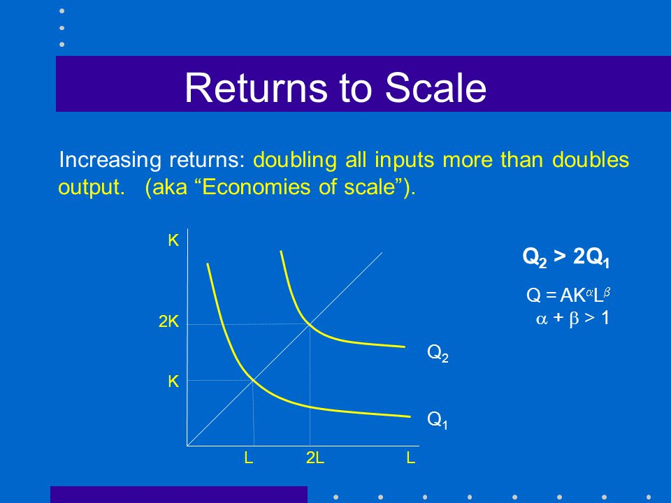 returns to scale That said, returns to scale and economies of scale exhibit equivalence when procuring more units of labor and capital doesn't affect their prices in this case, the following similarities hold: increasing returns to scale happen when economies of scale are present, and vice versa.