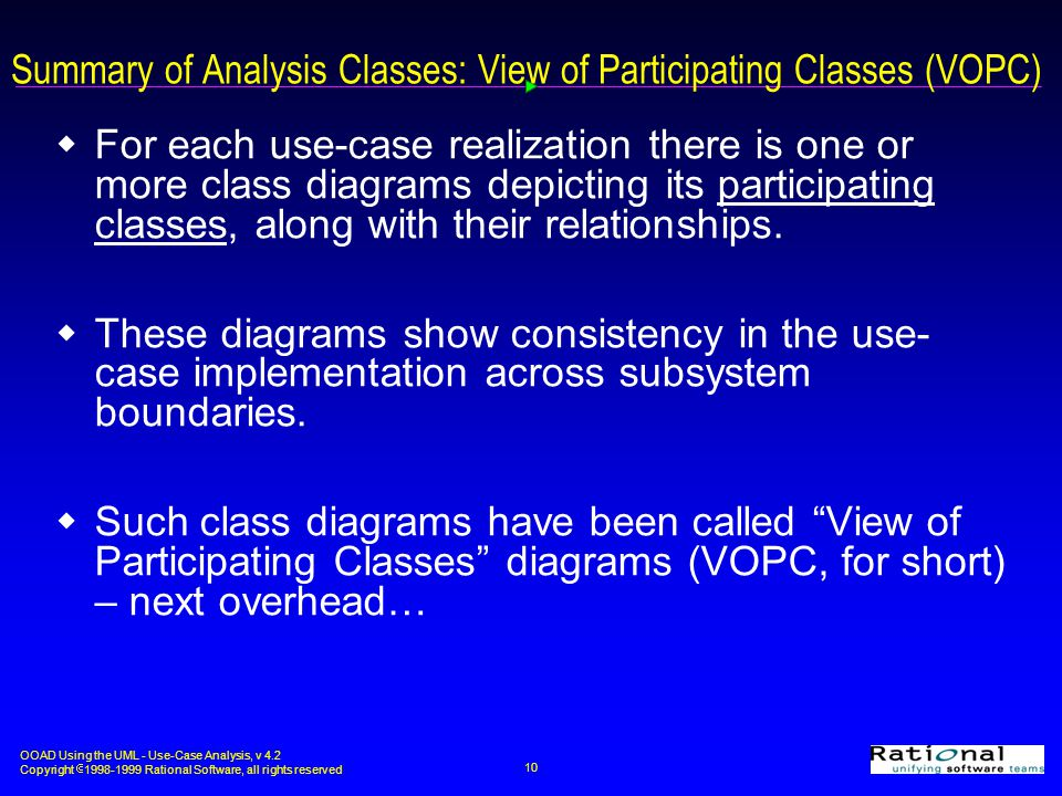 Summary of Analysis Classes: View of Participating Classes (VOPC)
