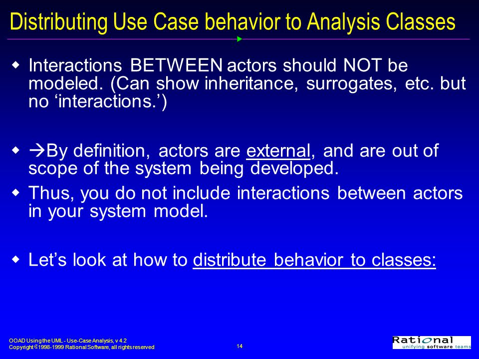 Distributing Use Case behavior to Analysis Classes