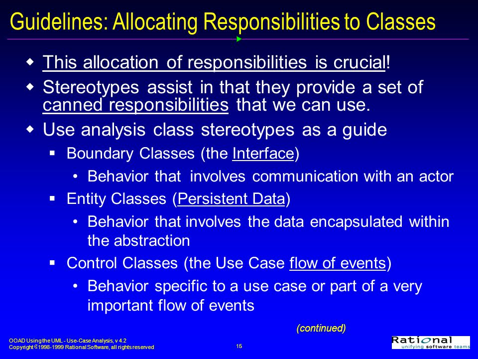 Guidelines: Allocating Responsibilities to Classes
