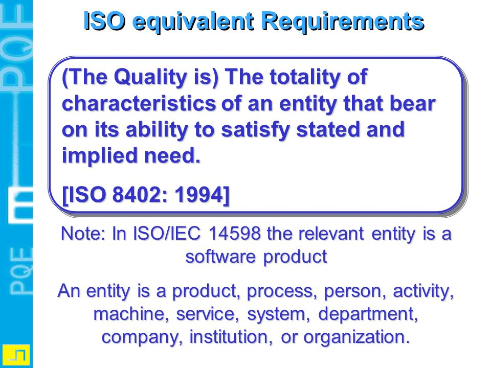 ISO equivalent Requirements