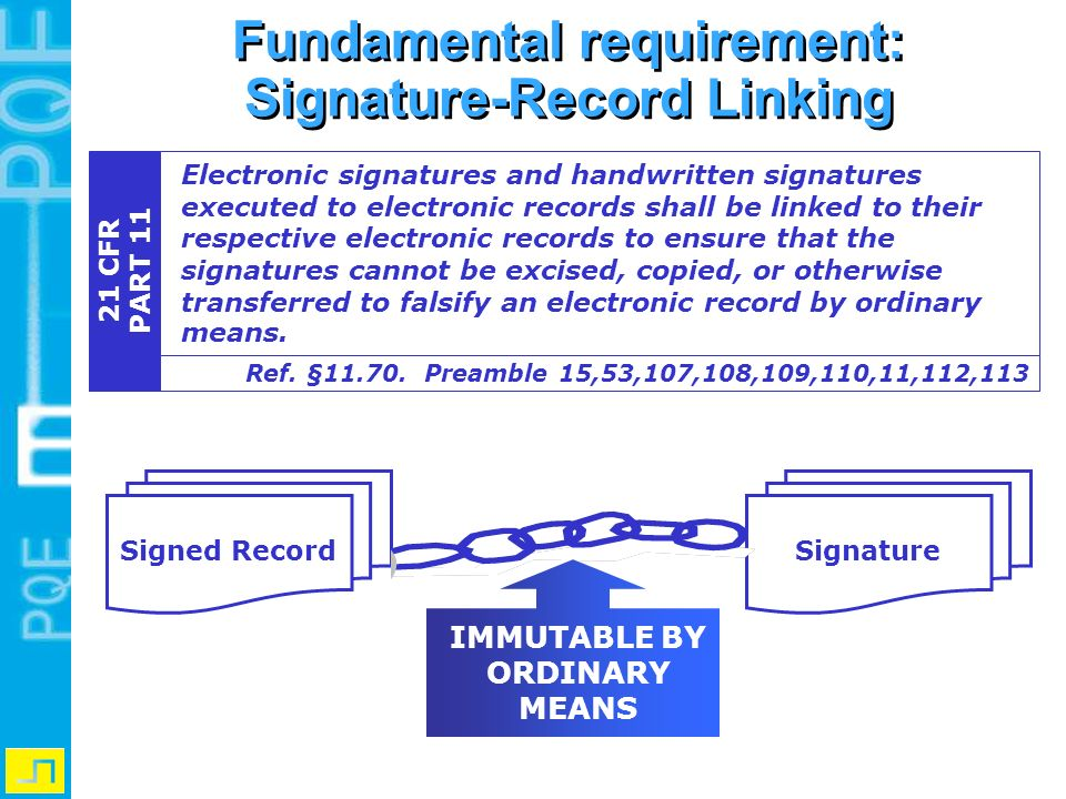 Fundamental requirement: Signature-Record Linking