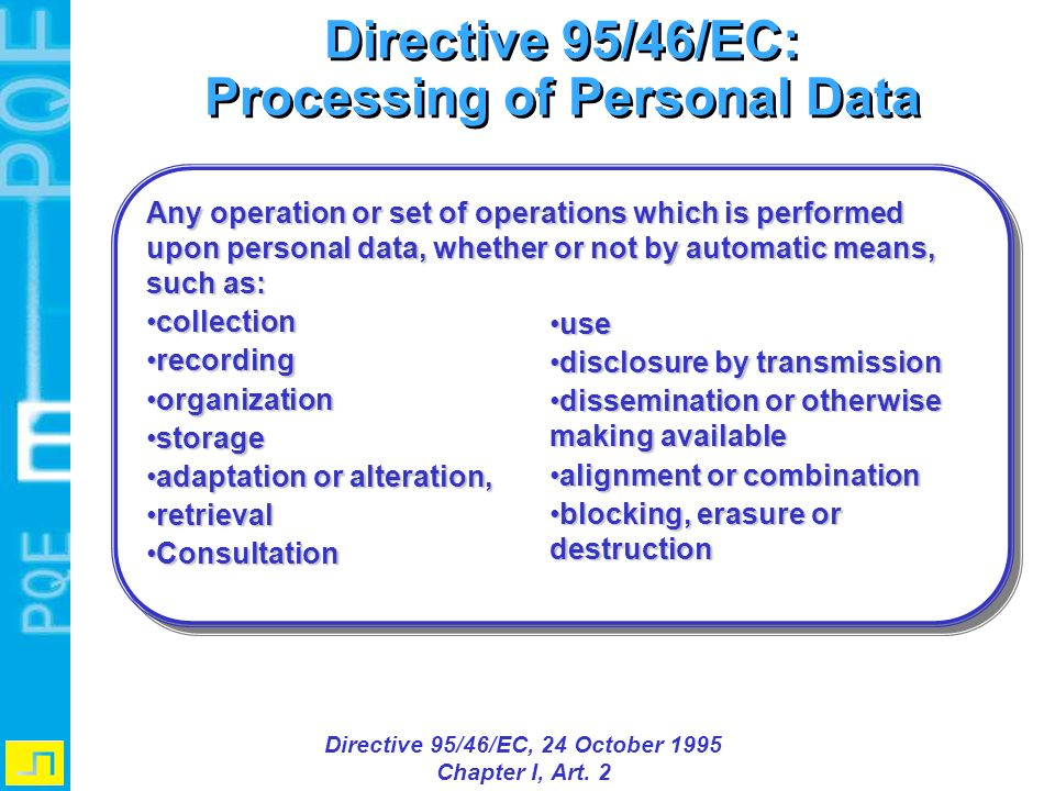Processing of Personal Data Directive 95/46/EC, 24 October 1995