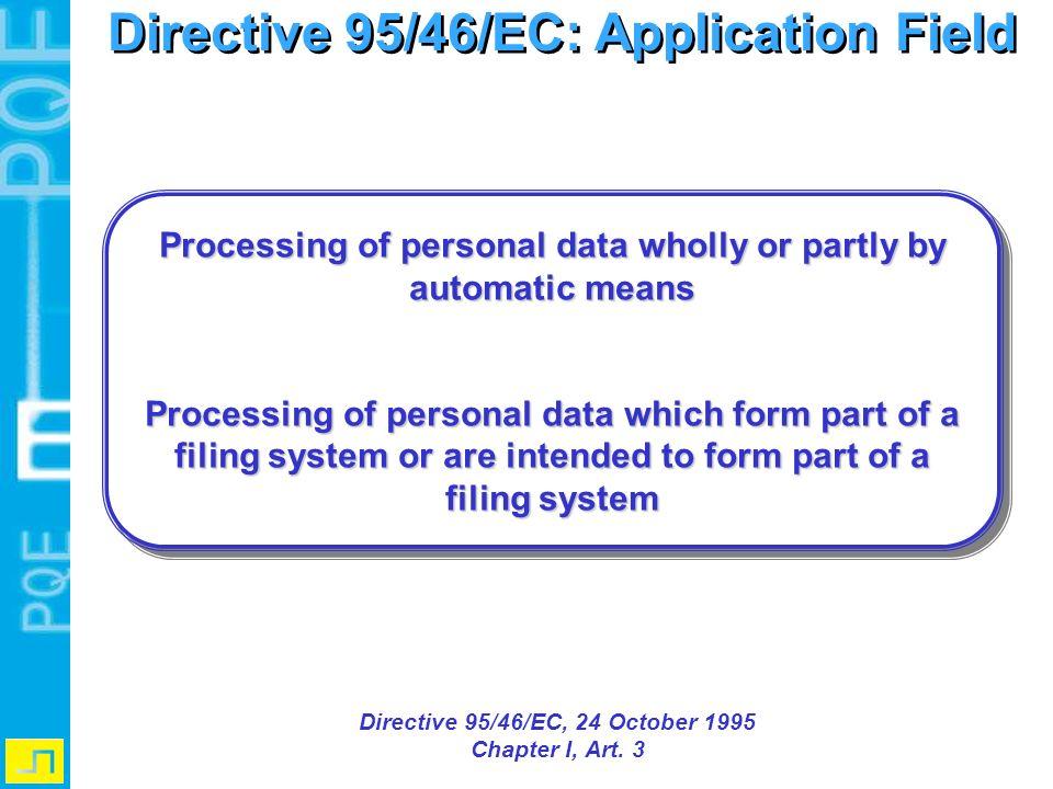 Directive 95/46/EC: Application Field