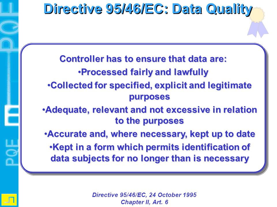 Directive 95/46/EC: Data Quality