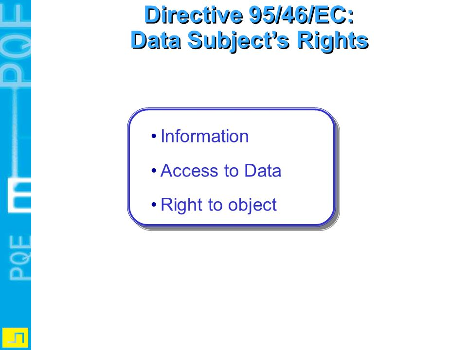 Directive 95/46/EC: Data Subject's Rights