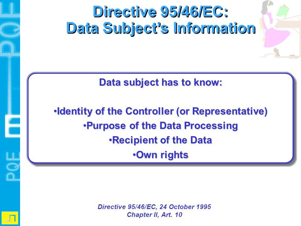 Directive 95/46/EC: Data Subject's Information