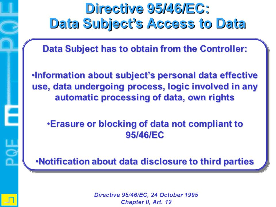 Directive 95/46/EC: Data Subject's Access to Data