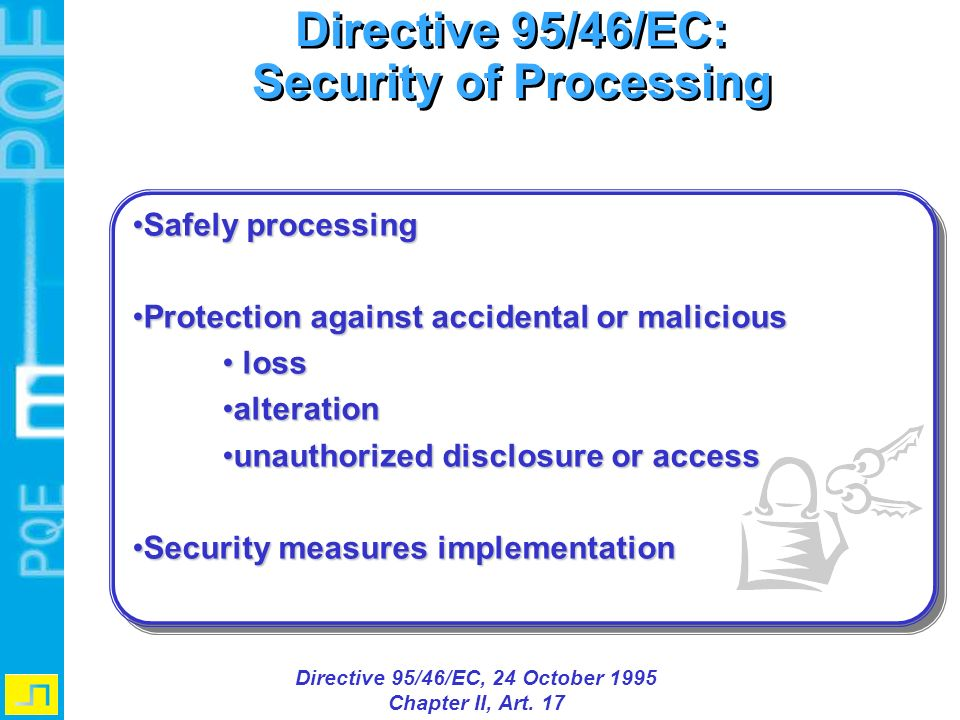 Security of Processing Directive 95/46/EC, 24 October 1995