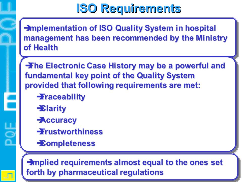ISO Requirements Implementation of ISO Quality System in hospital management has been recommended by the Ministry of Health.