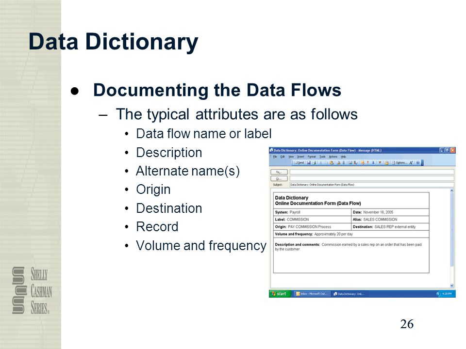 Data Dictionary Documenting the Data Flows