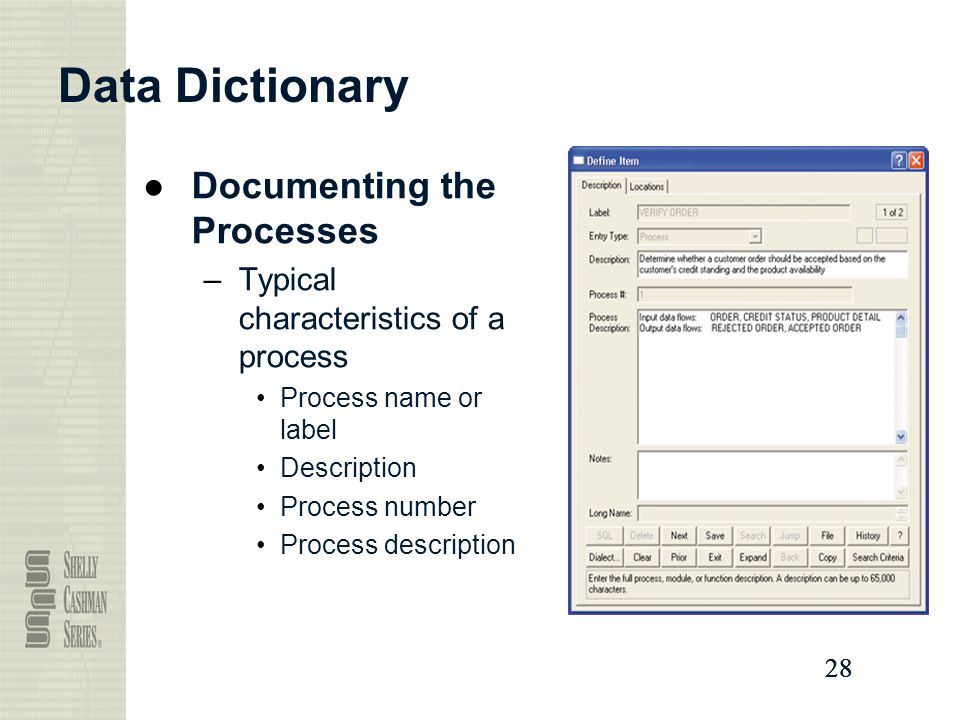 Data Dictionary Documenting the Processes
