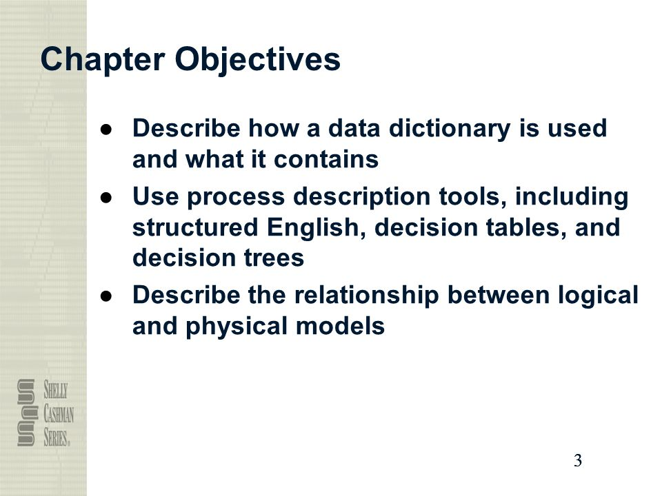 Chapter Objectives Describe how a data dictionary is used and what it contains.