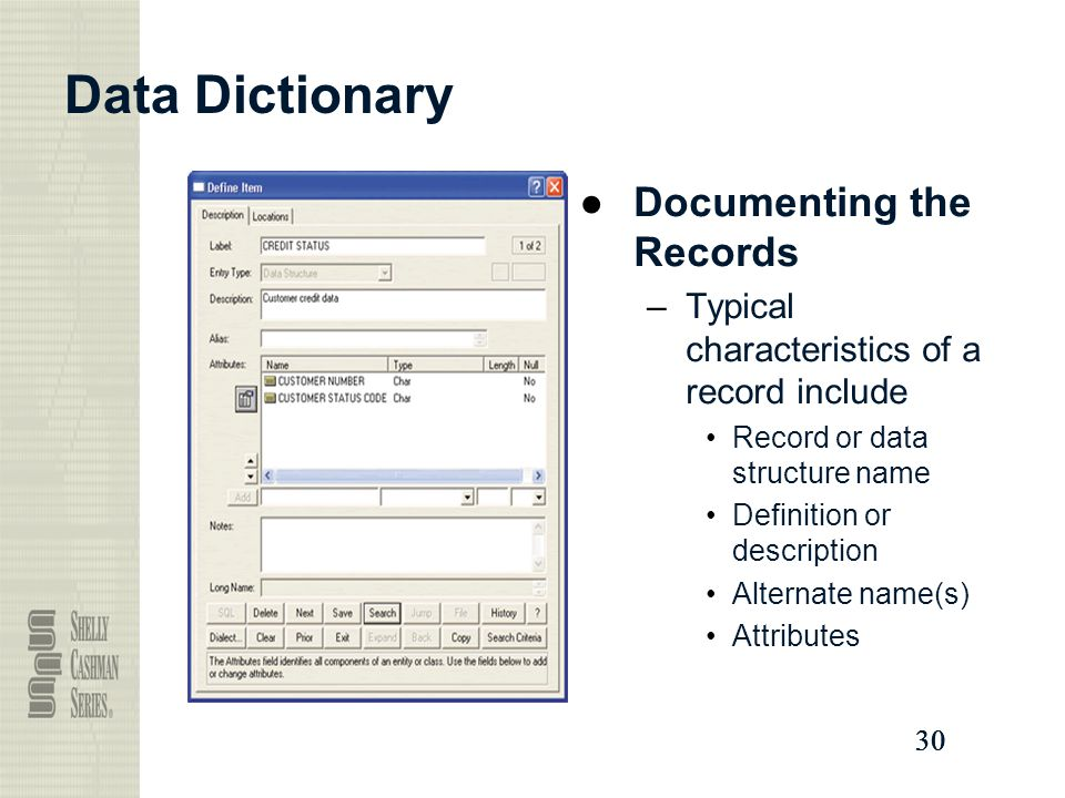 Data Dictionary Documenting the Records