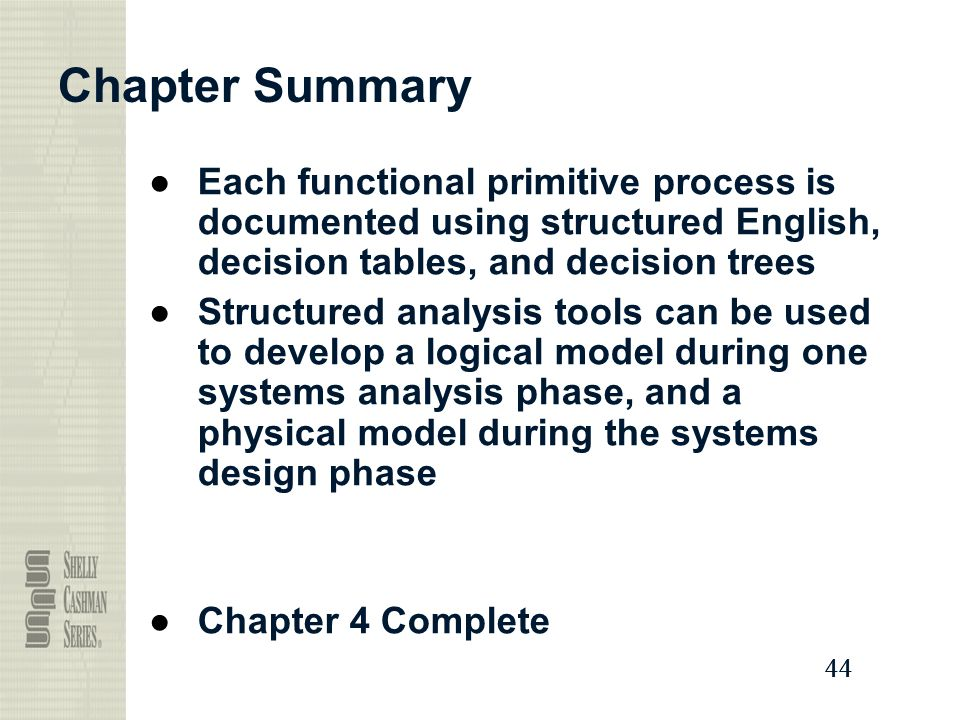 Chapter Summary Each functional primitive process is documented using structured English, decision tables, and decision trees.